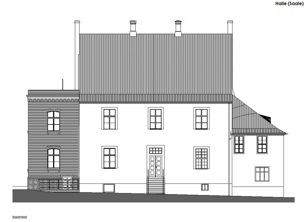 Entwurfszeichnung der Nordfassade.