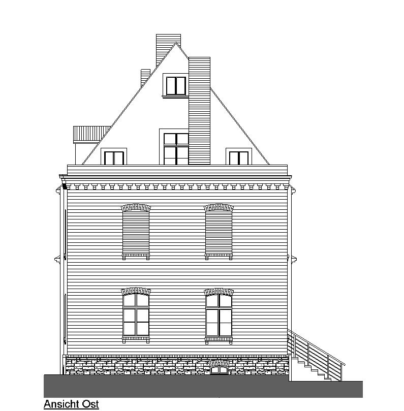 Entwurfszeichnung der Ostfassade.